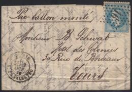 """Ballon Monté """"L'Armand Barbès"""" PARIS R. DE PALESTRO 2/OCT./1870 Pour Tours - 1863-1870 Napoléon III Lauré"""