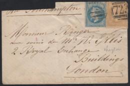 N°28B + 29B, Napoléon Obli Cachet Anglais 723 Southampton Lettre Pour Londres - 1863-1870 Napoléon III Lauré