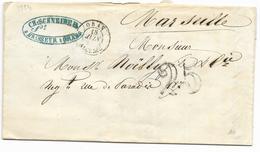 1854- Lettre BRASSEUR  CH. SCHNEIDER Taxée 25 DOUBLE TRAIT De ORAN  ALGERIE Pour MARSEILLE  T 15 Au Dos Voir Descriptif - Marcophilie (Lettres)