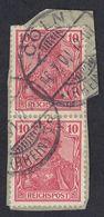 ALLEMAGNE -  DEUTSCHLAND - GERMANIA - 1900 - Due Valori Yvert 54, Obliterati, Uniti Fra Loro, Su Frammento Di Busta. - Germania