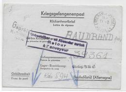 1941 - PRISONNIERS De GUERRE - LETTRE De EYGURANDE (CORREZE) => STALAG XIIC => RETOUR à L'ENVOYEUR - Marcophilie (Lettres)