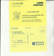 E 1 - Carte De Changement De Code Postal MONTIGNY LES METZ - Documents De La Poste