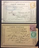 CP17 2 Cartes Précurseur N°14 Décalée T53-54 Étoile 20 N°8 Décalée T59 Étoile «Pelleray Commerce Cheveux « - Postal Stamped Stationery