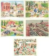 5 Cartes « Images De La Vie » :canal, Usine, Péniche / Route, Pompe Essence, Voitures / Marché / Potager / Maison, Maçon - Vieux Papiers