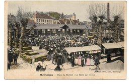 CPA 45 - MONTARGIS - PLACE DU MARCHE - LA HALLE AUX VEAUX (CARTE COLORISEE) - Montargis