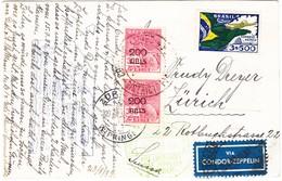 1933 Ansichtskarte Aus Petropoli Mit Zeppelin Post Nach Zürich-Wipkingen - Luftpost