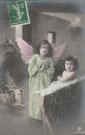 Anges : Ange Et L'enfant Jésus : ( Crèche De Noel ) Colorisée - Points Blancs En Reliéf - Angels