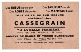 Buvard Cassegrain A La Belle Fermière Blanc Et Tissus Rue Royale Orléans - Textile & Vestimentaire