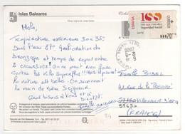 Vignette De Distributeur N° 34 à 70 Pts Sur Cp , Carte , Postcard  De 2000  Pour La France - 1991-00 Lettres