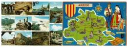 Carte Double - Contour De L'Ariège Illustrée Françoise Dague & Multivues 12 Vues Avec Texte à L'intérieur - Pas Circulé - Cartes Géographiques