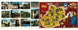 Carte Double - Contour Du Lot Illustrée Françoise Dague & Multivues 12 Vues Avec Texte à L'intérieur - Circ 1977 - Cartes Géographiques