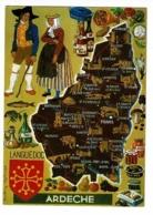 Les Départements Français, Contour De L'Ardèche Illustré Françoise Dague (blason Languedoc) Circulé Sans Date - Cartes Géographiques