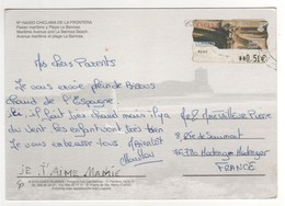 Vignette De Distributeur à 0,51 E Sur Cp , Carte , Postcard Pour La France - 2001-10 Storia Postale