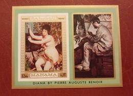Manama 1971 - Paintings - Imperf Deluxe Sheet Mi 278B MNH - Nude Masters Renoir Ajman Luxe Rare Imperforated - Ajman