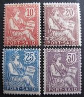 DF50500/154 - 1902 - TYPE MOUCHON - COLONIES FR. - PORT SAÎD (EGYPTE) N°25 + N° 27 à 29 NEUFS/(*) - Cote : 14,70 € - Neufs