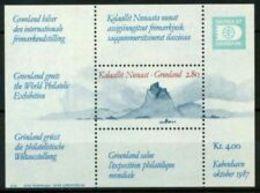 90678) Groenlandia 1987 SG MS193 Foglietto 100% ** Hafnia 87 Internazionale Esposizion -MNH** - Groenlandia