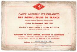 Buvard CMA Caisse D'assurances Des Agriculteurs De France Jean Violette Secrétaire - Bank & Insurance