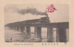 Ichikawa Iron Bridge Himeji Japan With Train Crossing Water C1920s/30s Vintage Postcard - Trains
