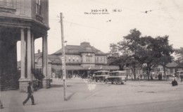 Sapporo Hokkaido Japan, Train Station(?) Street Scene, C1930s Vintage Postcard - Bahnhöfe Ohne Züge