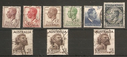 AUSTRALIA 1951 - 1965 SET OF 9 STAMPS SG 247/253bba FINE USED Cat £21+ - 1937-52 George VI