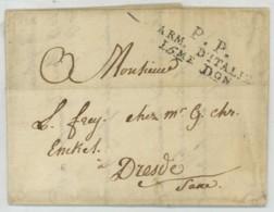 Port Payé PP ARMEE D'ITALIE 15E DIVISION / LàC De Trousson Jacquesson à Reims Pour L. Frey Courtier En Vins à Dresde . - Marcophilie (Lettres)