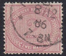 GERMANIA REICH - Yvert 43 Usato,  2 M, Lilla/rosa. - Germania