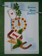 Kov 8-109 - NEW YEAR, BONNE ANNEE, Fer à Cheval, Horseshoe, Playing Cards, Cartes à Jouer - Año Nuevo