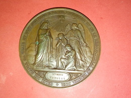 """SUPERBE MÉDAILLE CUIVRE  BAPTÊME COMMUNION CONFIRMATION """" Je Renonce à Satan ....""""  A. BORREL 1862  51 Mm 55 Gr - Other"""