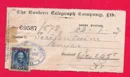 CRETE - CRETA - RECEIPT - RECU - THE EASTERN TELEGRAPH COMPANY - 22/08/1907 - ENVOI DE TELEGRAMME - TELEGRAPH SENDING - - Crète