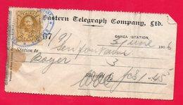CRETE - CRETA - RECEIPT - RECU - THE EASTERN TELEGRAPH COMPANY - 03/06/1906 - ENVOI DE TELEGRAMME - TELEGRAPH SENDING - - Crète