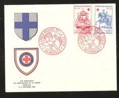 France YT 1278 / 1279 Fdc 1er Jour Croix Rouge Paire Sur Enveloppe Avec Ecusson De Marseille Luxe Saint Martin - France