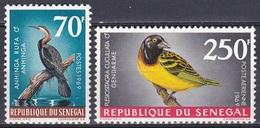 Senegal 1969 Tiere Fauna Animals Vögel Birds Oiseaux Aves Uccelli Schlangenhalsvogel Sterchen, Mi. 380-1 ** - Senegal (1960-...)