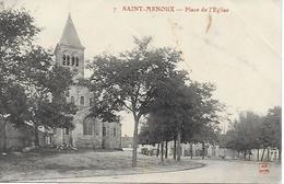 SAINT MENOUX PLACE DE L'EGLISE CARTE POSTEE D'AGONGES PAR UN SOLDAT EN 1916 - France