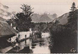 BOURG-D'OISANS (38). Vue Sur La Rive Et Le Massif De Belledonne. Lavoir Et Lavandière - Bourg-d'Oisans