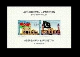 Azerbaijan Pakistan Joint Issue. Azerbaijan Stamp 2018. Mosque. Flags - Azerbaijan