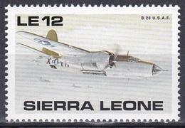 Sierra Leone 1990 Luftfahrt Aviation Luftwaffe Airforce Flugzeuge Aeroplanes Militär Martin B-26 Marauder, Mi. 1398 ** - Sierra Leone (1961-...)