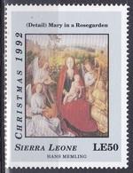 Sierra Leone 1992 Religion Christentum Weihnachten Christmas Gemälde Painting Hans Memling, Mi. 1922 ** - Sierra Leone (1961-...)
