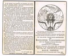 IZEGEM - ROESELARE ,  Dubbel Doodsprentje Van Boudewijn Vanlerberghe En Antoinette LAMBERT + 1940 (LUCHTBOMBARDEMENT) - Images Religieuses