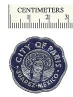 110-35 MEXICO Juarez City Of Paris Embossed Foil Label MNH Crease - Erinnofilia