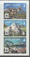 FINLAND, 2018, MNH, WWF, ENDANGERED ANIMALS, BIRDS, OWLS, WOLVES, FISH, SALMON, 3v - W.W.F.