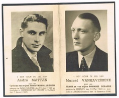 INGELMUNSTER - OBERNDORF - LEIPZIG , Doodsprentje Van André MATTAN En MARCEL VANHAVERBEKE (GESNEUVELDE) + 1943 En 1915 - Images Religieuses