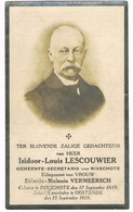 BIXSCHOTE , Doodsprentje Van Isidoor-Louis- LESCOUWIER (GEMEENTESECRETARIS)  , 1919 - Devotion Images