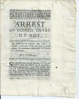 AIX - 1692 - ARREST Du Conseil D'ÉTAT Du ROY - Gesetze & Erlasse