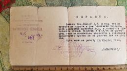 Soviet  Document - Leshan, Judaica  - Train Depot Certificate In Odessa, 1941 - Historische Dokumente