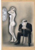 """I45 - Peinture Sur Carton à Dessin """"Façon De Parler"""" Non Signé - Gouache Aquarellée - Erotique - Estampas"""