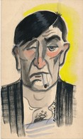 """I45 - Peinture Sur Carton à Dessin """"Mal Réveillé"""" - Gouache Aquarellée Signé Pierre Frever 1937 - Gouaches"""