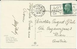 """Italy Roma Postcard 1936 - Postmark - ,,lotteria Automobilistica Di Tripoli """" / Tripoli Grand Prix / Automobille/ Auto - Cars"""