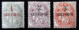 1908 Maroc Yt 20, 21, 22  Type Blanc .French Office . Neuf Trace Charnière - Neufs