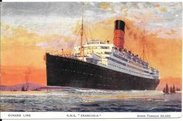 CPA-1930-PAQUEBOT-CUNARD LINE-R.M.S FRANCONIA-1922/1956-Ligne LONDRES/BOSTON USA-TBE - Paquebots