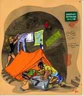 """I45 - Peinture Sur Carton à Dessin """"Les Joies Du Camping... En Cave"""" - Gouache Aquarellée Signé To Coullet à Nice - Gouaches"""
